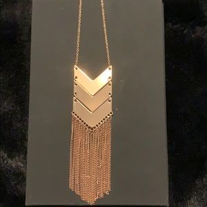 Rose Gold - long - Chevron necklace with chain NWT